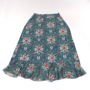 Bisou Bisou Swirly Floral Print Maxi Skirt